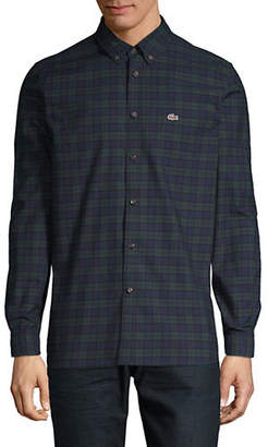 Lacoste Button-Down Plaid Shirt