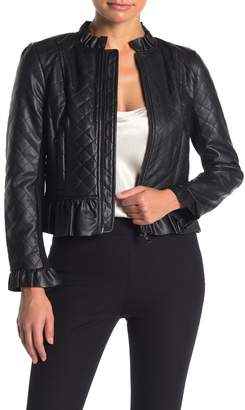 French Connection Brishen Quilted Faux Leather Jacket
