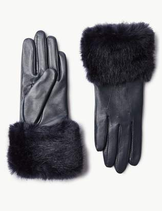 Marks and Spencer Leather Faux Fur Gloves