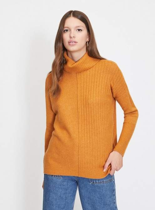 Soft touch cosy roll neck knitted jumper