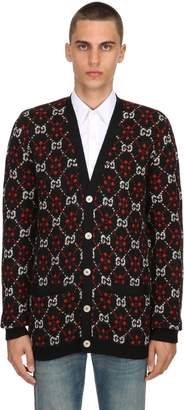 Gucci Gg Supreme Wool & Alpaca Knit Cardigan