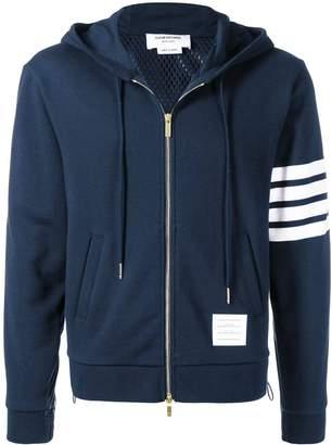 Thom Browne striped sleeve zip up hoodie navy