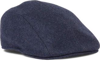 Brunello Cucinelli Leather-Trimmed Wool-Felt Flat Cap - Men - Blue