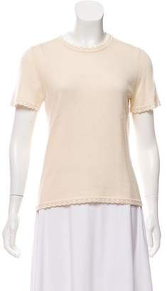 Oscar de la Renta Silk-Cashmere Short Sleeve Sweater