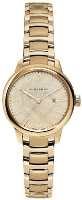 Burberry Women's Goldtone Stainless Steel Check Etched Bracelet Watch