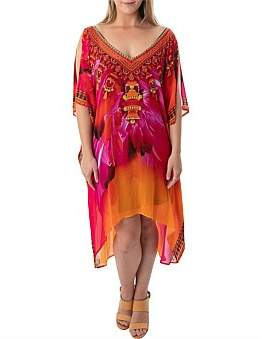 Bondi Beach Bag Company Kaftan, High Low Hem, Split Open Shoulder