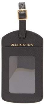 Smythson Panama Leather Luggage Tag - Mens - Black