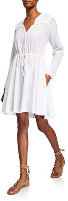 XiRENA Sibyl V-Neck Long-Sleeve Drawstring-Waist Cotton Dress
