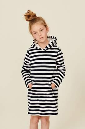Next Girls Navy Stripe Towelling Tunic (3-16yrs) - Blue