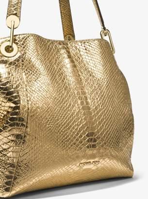 MICHAEL Michael Kors Raven Metallic Snake-Embossed-Leather Shoulder Bag
