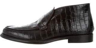 Alumnae Embossed Leather Loafer Booties