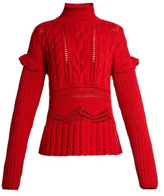 Altuzarra Prelude High Neck Cable Knit Wool Sweater - Womens - Red