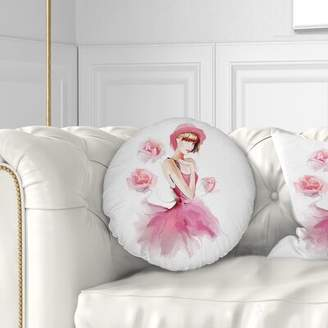 East Urban Home Portrait Woman in Dress and Hat Throw Pillow East Urban Home