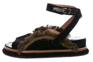 Dries Van Noten Velvet Ankle-Strap Sandals
