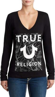 True Religion WOMENS DEEP V METALLIC LOGO SHIRT