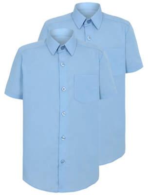 George Boys Light Blue Slim Fit Short Sleeve School Shirt 2 Pack