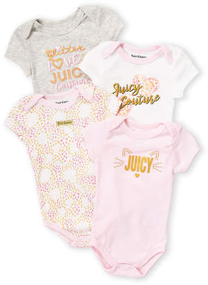 Juicy Couture Newborn/Infant Girls) 4-Pack Kitty Heart Bodysuits