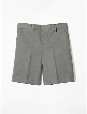 Boys' Adjustable Waist Cotton School Shorts, Grey