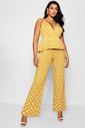 boohoo Plus Polka Dot Ruffle Wrap Jumpsuit