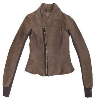 Rick Owens Rib Knit-Trimmed Leather Jacket Tan Rib Knit-Trimmed Leather Jacket