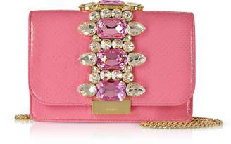 Gedebe Cliky Barbie Python Clutch w/Crystals and Chain Strap
