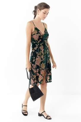 J.o.a. Floral Velvet Twist-Front Dress