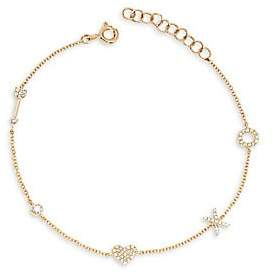 Ef Collection Women's 14K Yellow Gold & Diamond Sweetheart Charm Bracelet