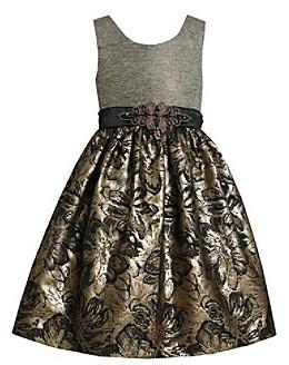 Bonnie Jean Girls' 4-6X Grey/Gold Brocade Dress