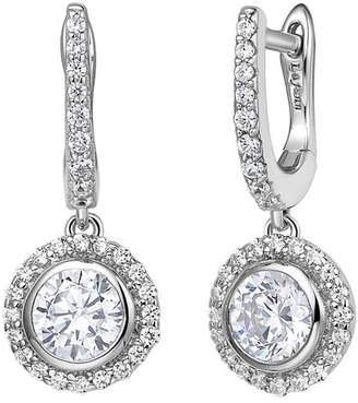 Lafonn Platinum Over Sterling Silver Simulated Diamond Halo Drop Earrings