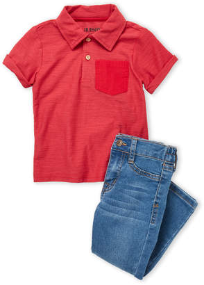 Hudson Toddler Boys) Two-Piece Slub Knit Polo & Denim Shorts Set