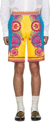 Versace Orange and Blue Barocco Print Shorts