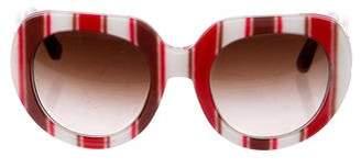 Dolce & Gabbana Striped Oversize Sunglasses