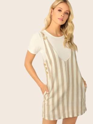 Shein Pocket Side Pinafore Dress With Adjustable Strap