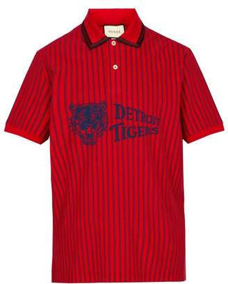 Gucci Detroit Tigers Print Cotton Pique Polo Shirt - Mens - Red