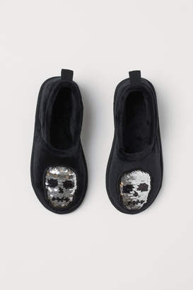 H&M Reversible-sequin Slippers - Black