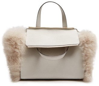 Valextra Passepartout Medium Shearling Trimmed Leather Bag - Womens - Ivory