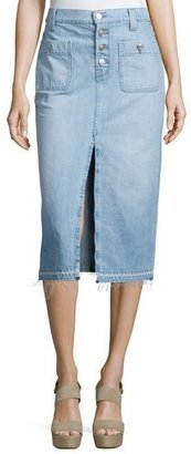 7 For All Mankind Exposed-Button Denim Skirt, Blue $198 thestylecure.com