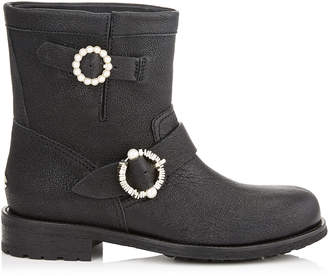 Jimmy Choo YOUTH Black Satin Lame Leather Biker Boots with Pearl Embellished Buckles