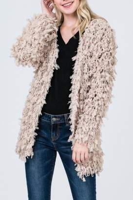 Sweet Generis Taupe Furry Cardigan