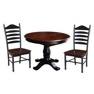 International Concepts Round Pedestal Dining Table, Leaf & Ladderback Chair 4-piece Set