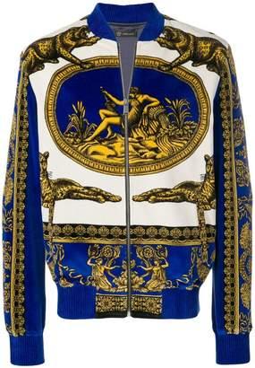 Versace Baroque velvet bomber jacket