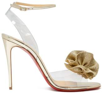 Christian Louboutin Fossiliza Flower Embellished Sandals - Womens - Gold