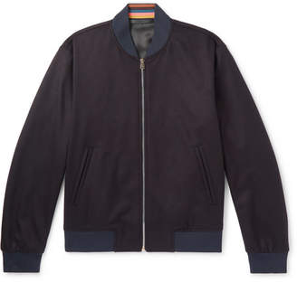 Paul Smith Wool And Cashmere-blend Bomber Jacket - Navy