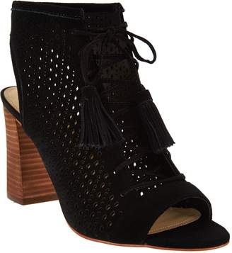 Marc Fisher Perforated Suede Lace-up Booties - Satire