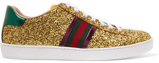 Gucci Ace Metallic-trimmed Glittered Leather Sneakers