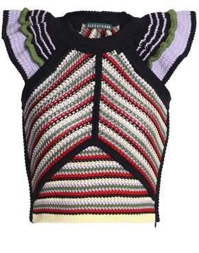 ALEXACHUNG Ruffled Crocheted Cotton-Blend Top