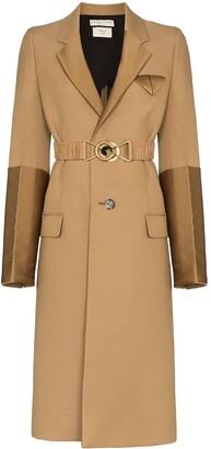 Bottega Veneta contrast panel single-breasted coat