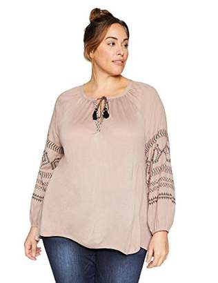 Lucky Brand Women's Plus Size Embroidered Print Peasant TOP