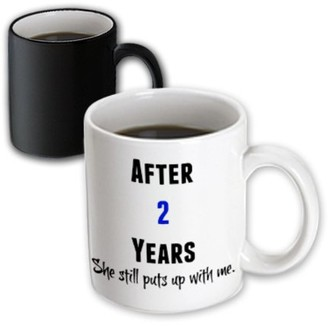 with me. 3drose 3dRose After 2 Years She Still Puts Up With Me, Black And Blue Letters - Magic Transforming Mug, 11-ounce