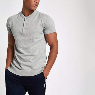 River Island Jack and Jones Premium grey knit button T-shirt